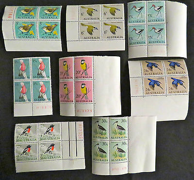 1966 Australian Stamps - Birds Complete Set x 4 with Tabs - MNH