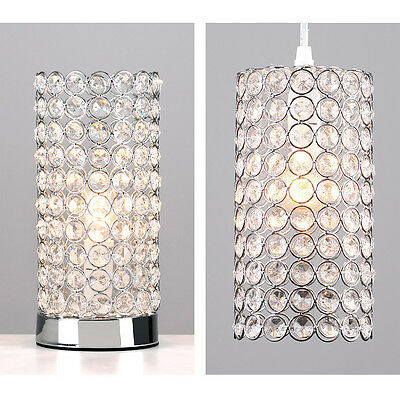 Matching Chrome & Acrylic Crystal Jewel Touch Table Lamp & Ceiling Light Shade