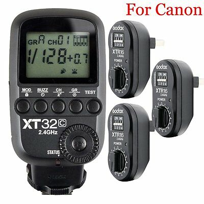 Godox XT32C 2.4G HSS Flash Trigger Transmitte​r for Canon + 3PCS XTR-16 Receiver