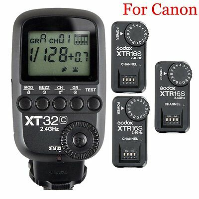 Godox XT32C 2.4G HSS Flash Trigger Transmitte​r for Canon + 3PCS XTR-16S Receive