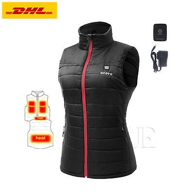 ORORO Womens Heated Vest Built-in Electric  Rechargeable Winter Motocycle Coats