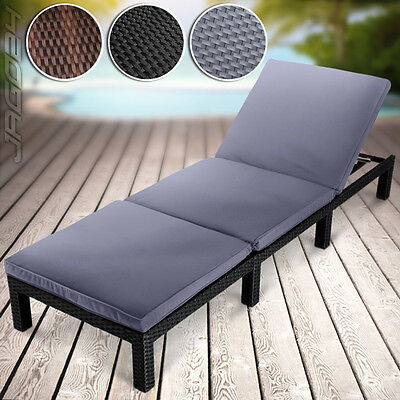 Poly-rattan Sun Lounger Day Bed Recliner Terrace Garden Patio Outdoor Furniture