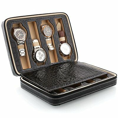 Black Faux Leather 8 Grids Watch Storage Box With Display Convenient Portable UK