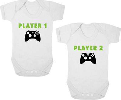 XBOX PLAYER 1/PLAYER 2 Funny TWIN Bodysuits/Grows/Vests Newborn Gift Baby Shower