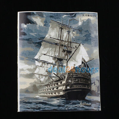 16'' x 20'' DIY Paint By Number Kit Boat Ship Oil Painting On Canvas Home Decor