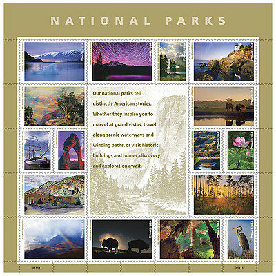 USPS New National Parks Pane of 16 designs