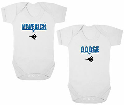 MAVERICK & GOOSE TOP GUN Bodysuits/Grows/Vests, TWIN Newborn Gift, Baby Shower