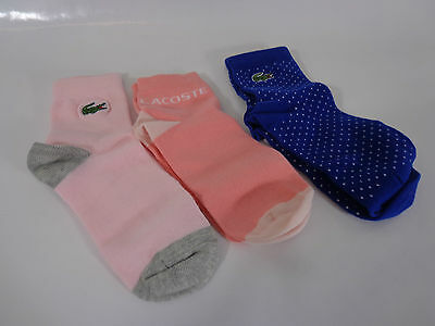 LACOSTE SET OF 3 PAIRS OF GIRLS SOCKS SIZE 2 SMALL BNIP childrens socks