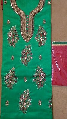Ladies Indian Pakistani Punjabi Suit Green and Red  NEW FREE NEXTDAY  DELIVERY