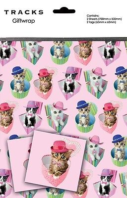 Gift Wrap Present Wrapping Paper Cute Cats Kittens On Pink With Matching Tags