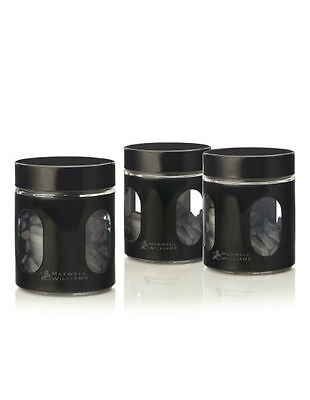 NEW Cosmopolitan Colours Canister, Set of 3 Gift Boxed, 600ml - Black