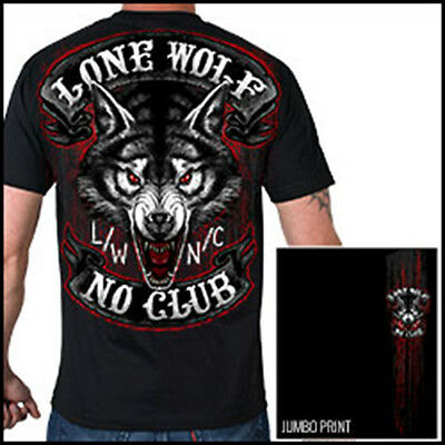NEW Genuine Lone Wolf No Club Double sided HUGE print Biker Motorcycle T Shirt