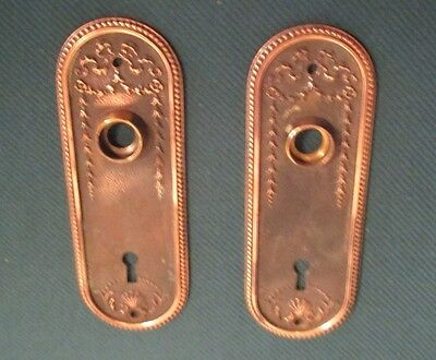 Ornate Antique Set of 2 Brass Escutcheon Key Hole Covers