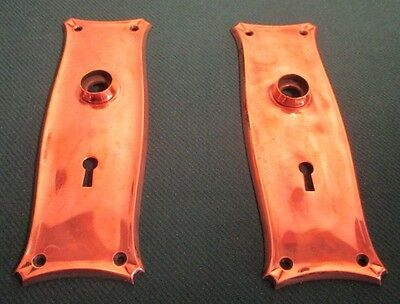Pair of 2 Antique Brass Door Escutcheons Key Hole Cover Plates #2