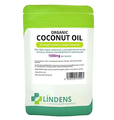 Lindens Organic Coconut Oil 1000mg 3-PACK 270 Rapid Release Softgel Capsules