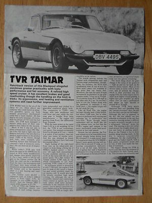 TVR TAIMAR 1977-78 UK Mkt Road Test Brochure