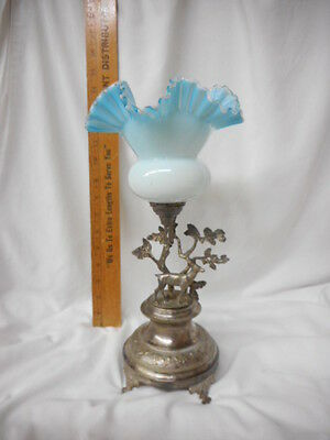 Victorian Brides Basket Blue Glass Attached Figural Silverplate Stand