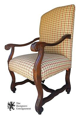 Vtg Louis XV French Style Mahogany Arm Chair Houndstooth Plaid Fabric Designer
