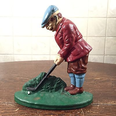 FAB Vintage Heavy Painted Cast Iron Golfer Golfing Door Stop Book End
