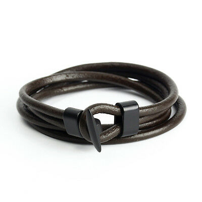 Fashion Coffee Women Men Multilayer Wrap Leather Surfer Bracelet Bangle Gifts