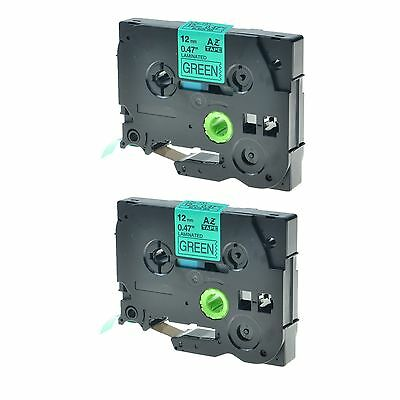 """2PK TZ731 TZe731 Black on Green 1/2"""" Label Tape for Brother P-Touch PT-1960 12mm"""