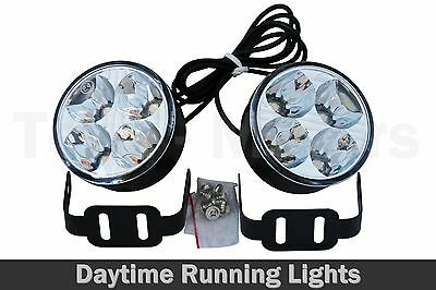 2 x 70mm Daylight Round 6000k White 4 LED DRL Daytime Running Lights E4 020-2