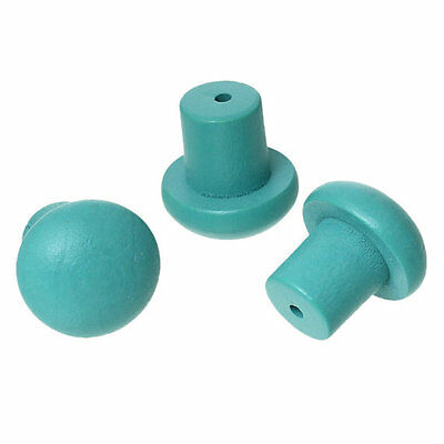 10 Pieces of Wooden Mushroom Drawer Handle Knobs - Various Colours 18mm Box Door