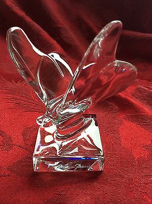 FLAWLESS Exceptional BACCARAT Figurine Crystal PEDESTAL BUTTERFLY Paperweight