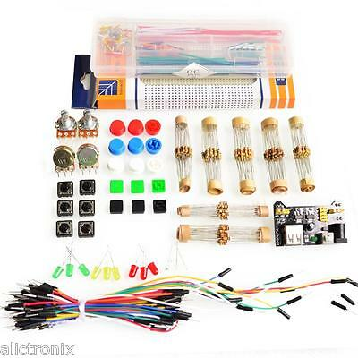 Basic Electronics starter kit, breadboard, power module, jumper box, cables, etc