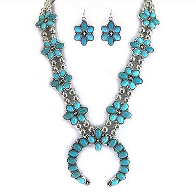 NWT Double Strand Navajo Squash Blossom Faux Turquoise Necklace