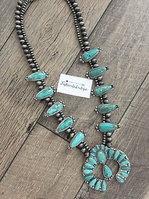 Squash Blossom Faux Turquoise Necklace