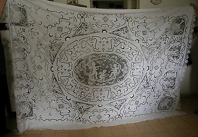 A Stunning Antique Big Bedspread With A Lot Of Lace Work -Showing Angels&cupids
