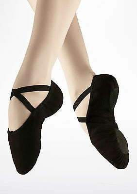Black pro canvas capezio 2039 split sole ballet shoes -all sizes