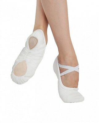 White pro canvas capezio 2039 split sole ballet shoes -all sizes