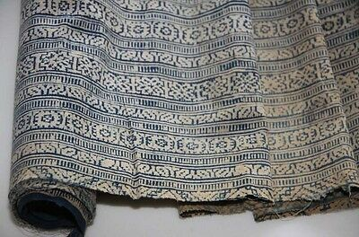 Tribal Chinese ethnic minority people's old  hand batik fabric textile Roll 5.8M