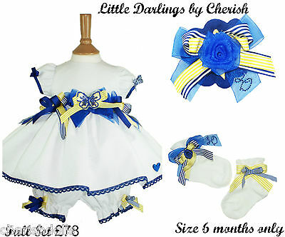 Little Darlings Designer Baby Girls 6 Month Full Outfit Dress Sox Hair Clip Sale