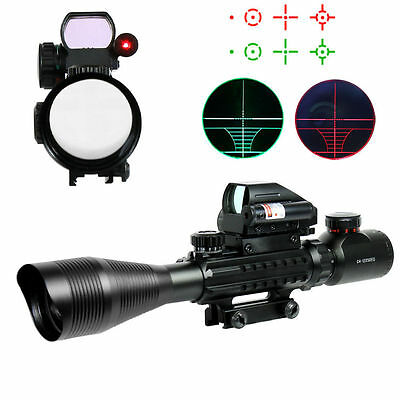 4-12X50 EG Tactical Rifle Scope w/ Holographic 4 Reticle Sight & Red Laser