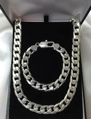 Mens 925 Sterling Silver Super Chunky Bracelet Necklace Jewellery Set SALE!