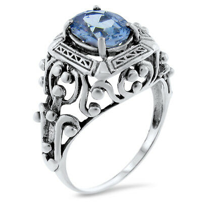 Antique Victorian Design Sim Aquamarine 925 Sterling Silver Ring Size 7.75, #386