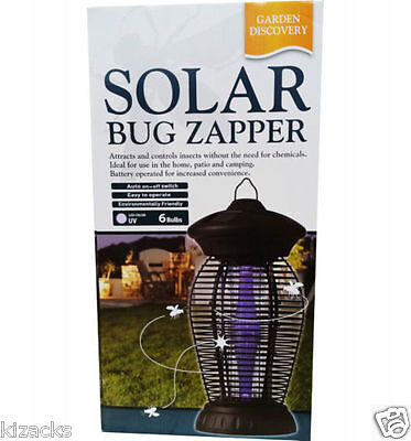 Solar Bug Insect Pest Fly Mosquito Zapper Garden Discovery LED Blue Light