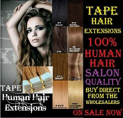 """100% HUMAN REMY TAPE HAIR EXTENSIONS/WEFT 21"""" Waterproof Tape Lasts 3 months"""