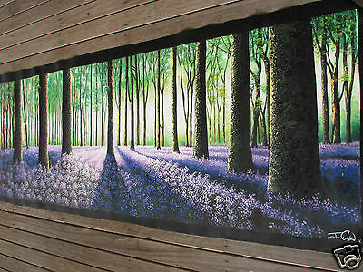 210cm x 70cm tree forest woods panoramic COMMISSION art painting landscape