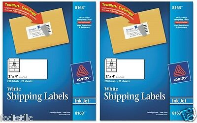 """Avery Inkjet Mailing Labels 2"""" x 4"""" White 500ct"""