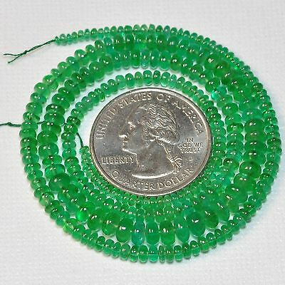 "100% Natural Zambian EMERALD Smooth Plain rondelle Beads 15"" strand 2.5 to 5.5mm"
