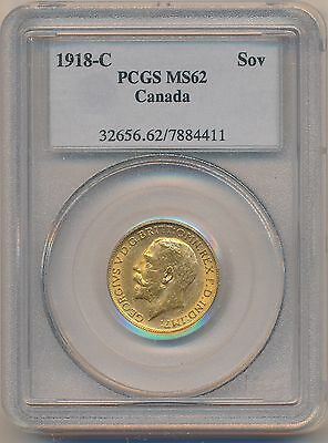 1918C PCGS MS-62 Canada Sovereign Gold Coin; 0.2354ozt AGW; NO TAX