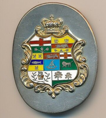 Antique Sterling Silver Canada Coat-of-Arms Buckle; Enamel; Crest; Flags; 32g