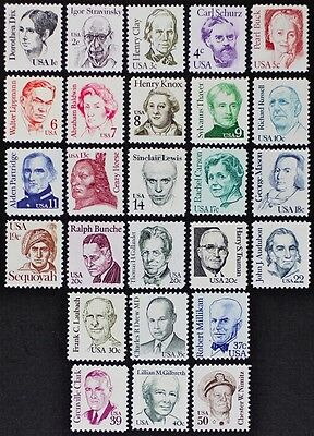 US USA #1844-69 Great Americans I, issued 1980-1985 set of 26 stamps Mint NH