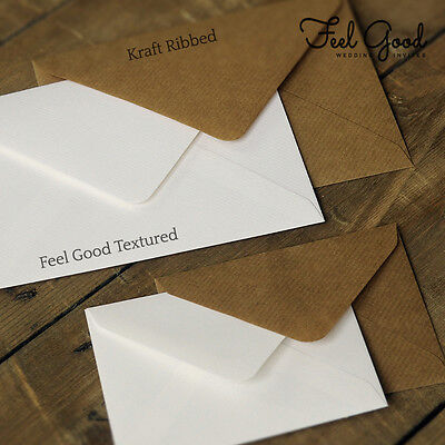 10 Wedding Invitation Envelopes -Textured White / Ribbed Kraft Brown C7, C6, 5x7
