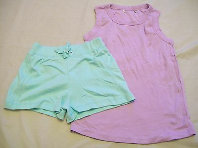 girls purple t shirt 4-5 yrs mint green shorts 6-7 yrs (JJK.444.18)