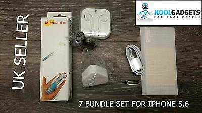 7 x Accessory Bundle Charger Monopod Screen Prot Headphone For iPhone 5,6  6Plus